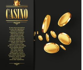 Gold coin casino templates vector