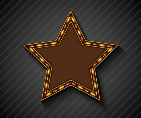 Gold color lights five-pointed star billboard vector