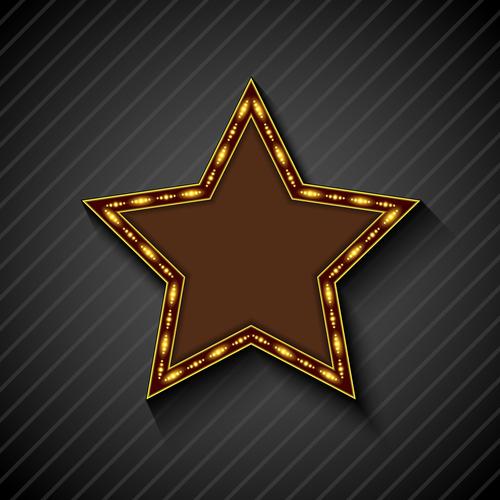 Gold color lights five pointed star billboard vector