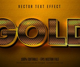 Gold yellow editable font effect vector