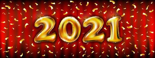 Golden 2021 number vector