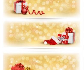 Golden background christmas gift banner vector