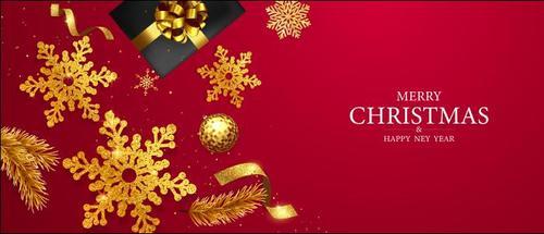 Golden snowflake decoration christmas card vector
