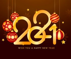 Golden text New Year 2021 colorful design vector