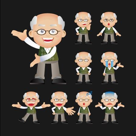 Grandpa enrich emoticon vector