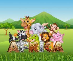 Grassland happy animals cartoon vector