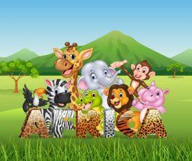 Grassland happy animals cartoon vector