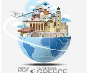 Greece famous tourist attractions concept vector