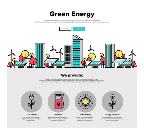 Green energy flat graphic concept vector
