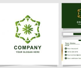 Green floral cover company logo design vector