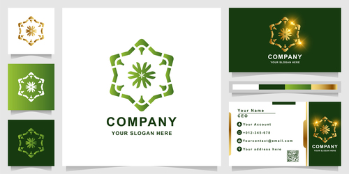 Green floral cover company logo design vector