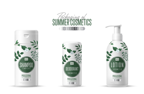 Green plant essence cosmetics and packing vector