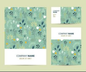 Green printing pattern company business card vector