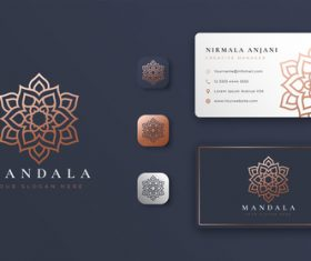 Grey mandala logo company business card vector