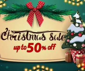 Half price promotion xmas supplies flyer vector