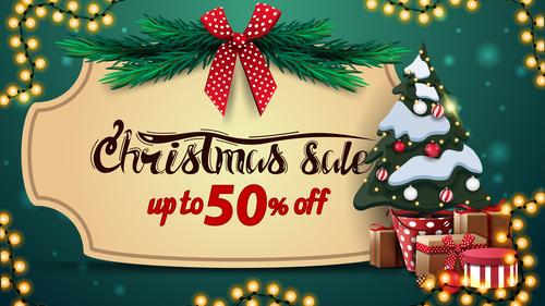 Half price promotion xmas supplies flyer vector
