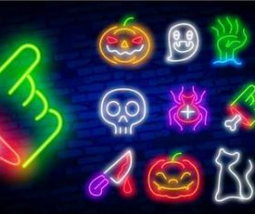 Halloween element neon icon vector
