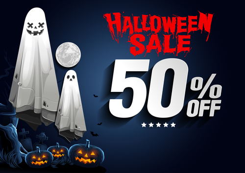 Halloween half price sale flyer vector