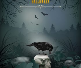 Halloween night scene with skull
