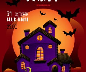 Halloween party poster or flyer with halloween elements