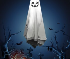 Halloween pumpkin lantern and ghost in the cemetery vector