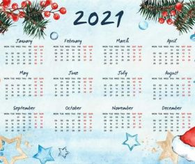 Hand drawn 2021 calendar vector
