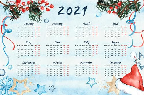 Hand drawn 2021 calendar vector