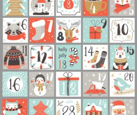 Hand drawn Christmas calendar vector