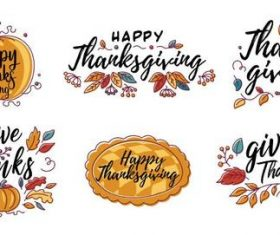 Hand drawn Happy Thanksgiving design in autumn wreath banner vector