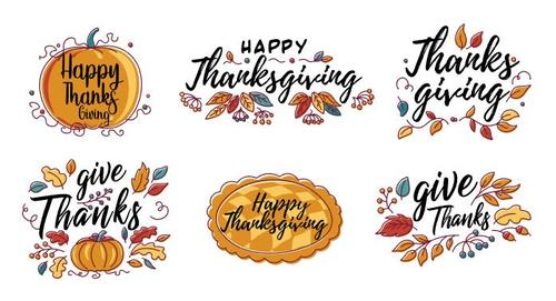 Hand drawn Happy Thanksgiving design in autumn wreath banner vector