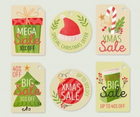 Hand drawn cute Christmas label vector