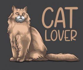 Hand drawn illustration cat vector