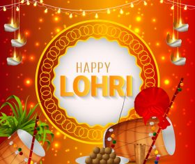 Happy Lohri Indian festival greeting card vector