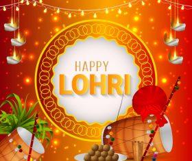 Happy Lohri Indian festival greeting card vector