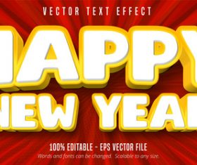 Happy New Year editable font effect vector