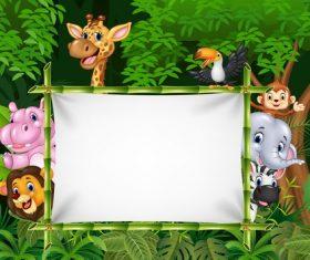 Happy animals build white screen cartoon vector