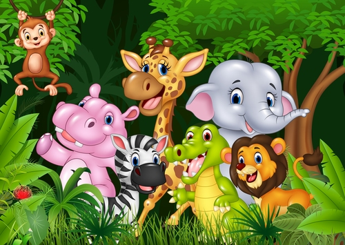 Happy animals in the forest cartoon vector