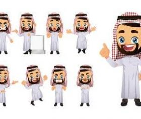Happy arab male emoji comic character vector