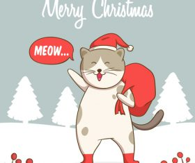 Happy cat christmas card vector