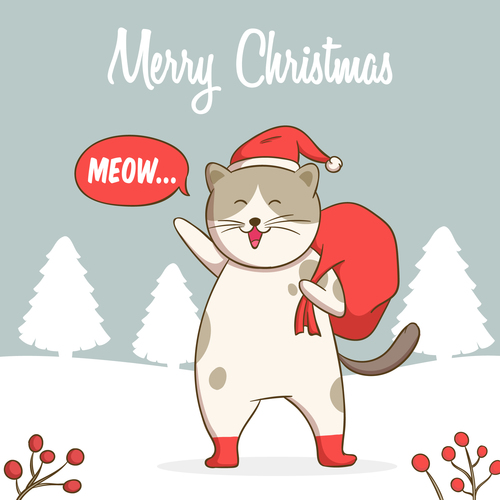 Happy cat christmas card vector