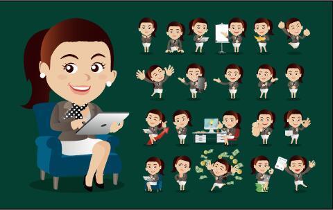 Happy comic characters vector