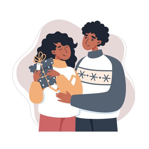 Happy couple cartoon illustration vector