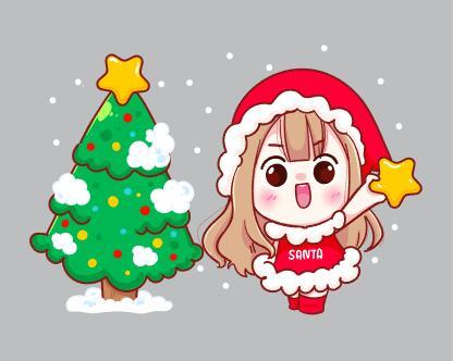 Happy little girl and christmas tree vector