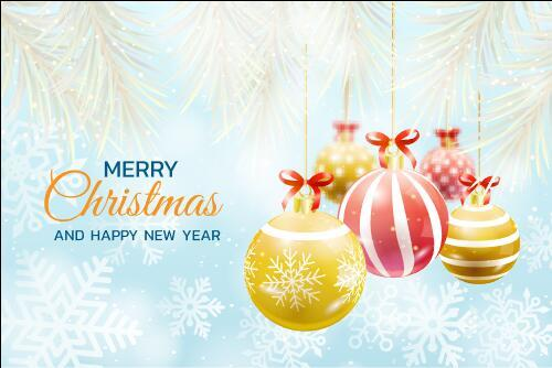 Happy new year decoration greeting card vector