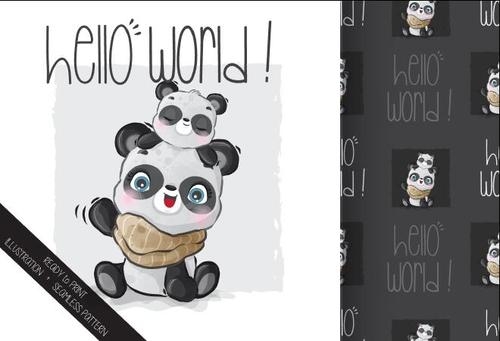 Happy panda mother and child cartoon seamless background vector