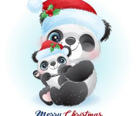 Happy panda mother and child cartoon vector