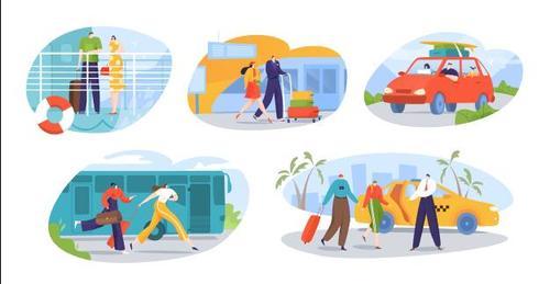Happy travel illustration vector
