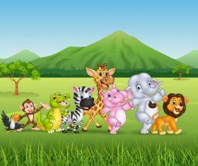 Harmony animals cartoon vector on the prairie