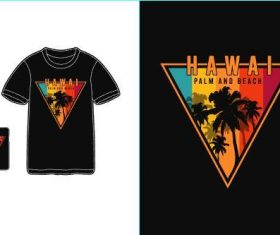 Hawaii palm and beach T-shirt merchandise print vector