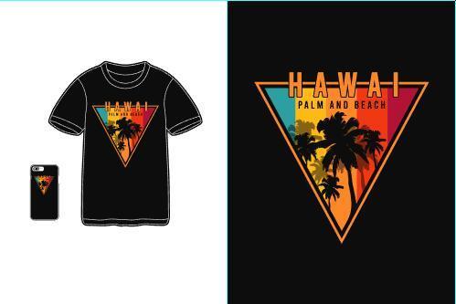 Hawaii palm and beach T shirt merchandise print vector